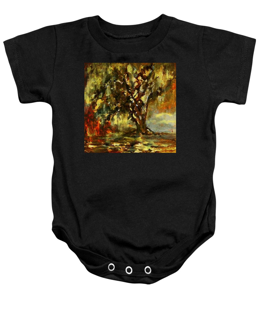 Art Baby Onesie featuring the painting Light Through The Moss Tree Landscape Painting by Julianne Felton