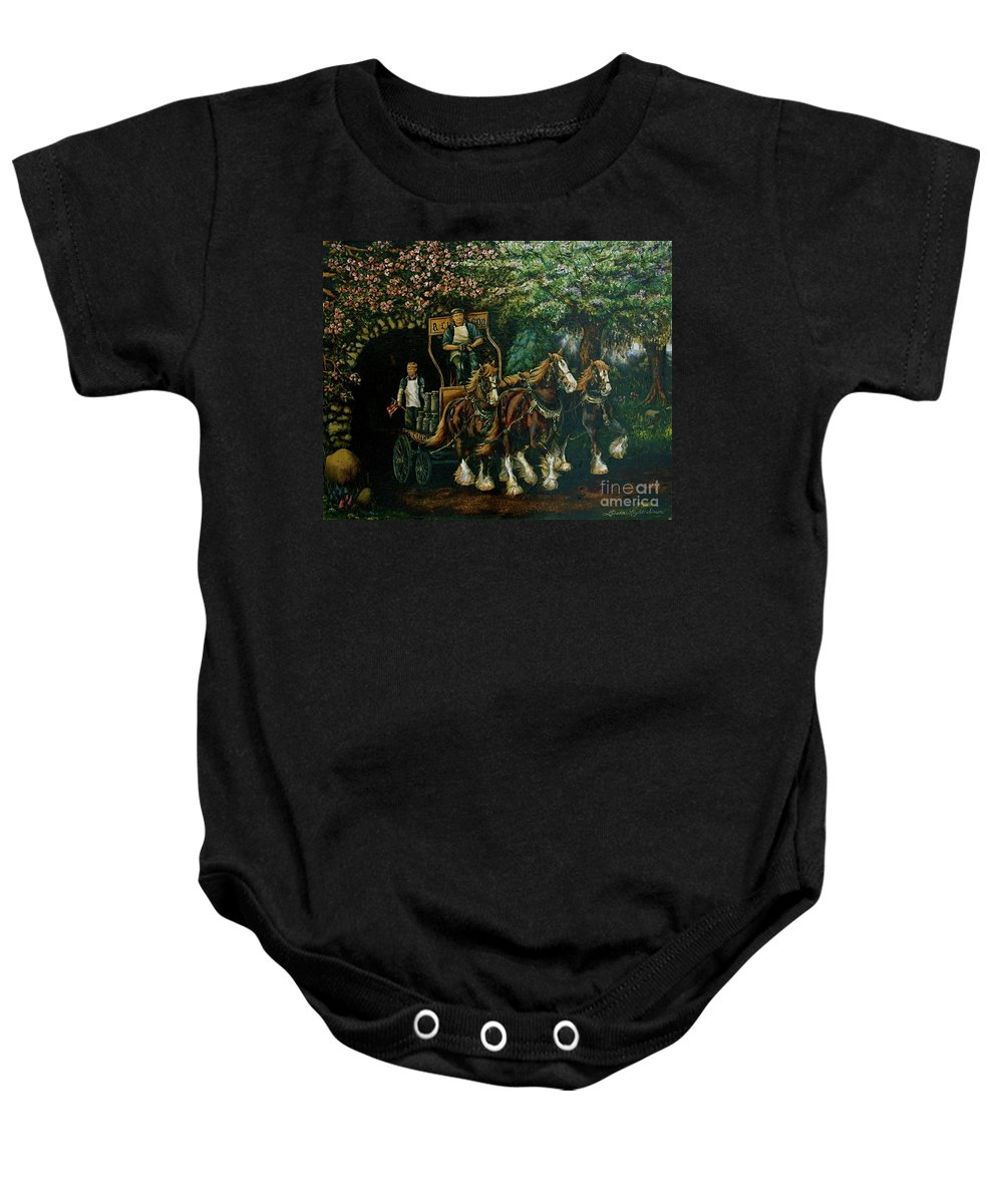 Baby Onesie featuring the painting Light Touch by Linda Simon
