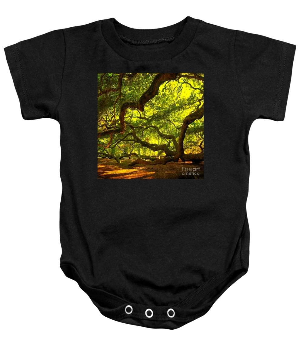 Angel Oak Baby Onesie featuring the photograph Lighter version 40x40 by Susanne Van Hulst