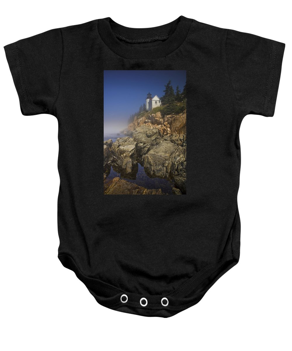 Art Baby Onesie featuring the photograph Lighthouse At Bass Harbor Maine by Randall Nyhof