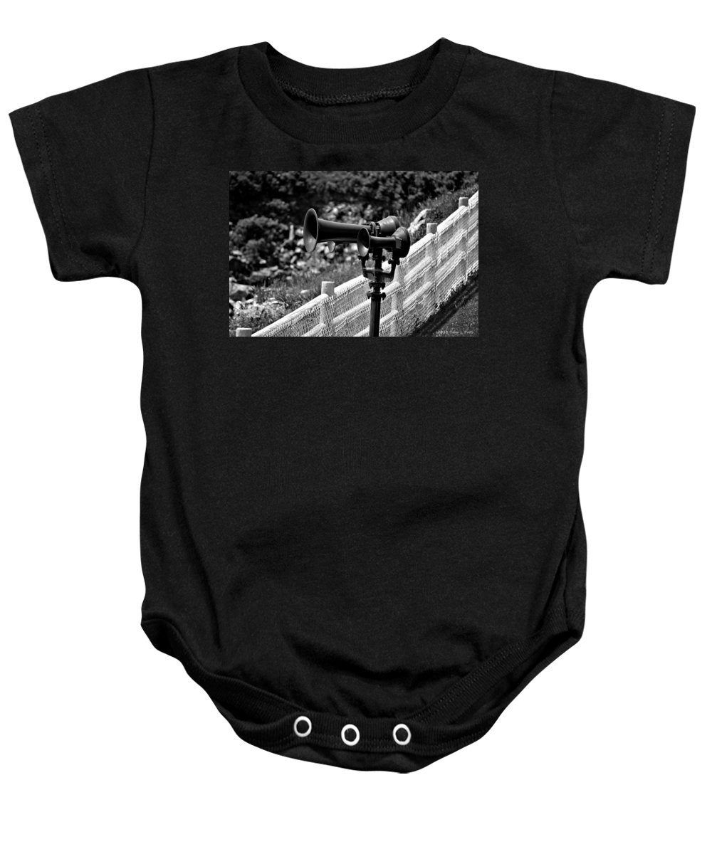 Horns Baby Onesie featuring the photograph Lighthouse Horns by Tara Potts