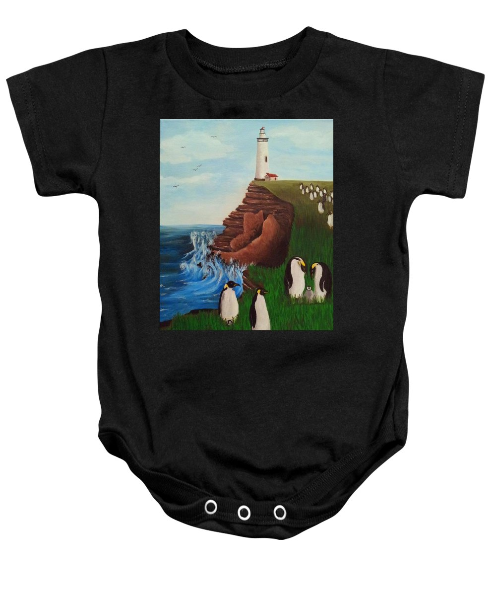 Penguin Baby Onesie featuring the painting Lighthouse With Penguins by Erin Nessler