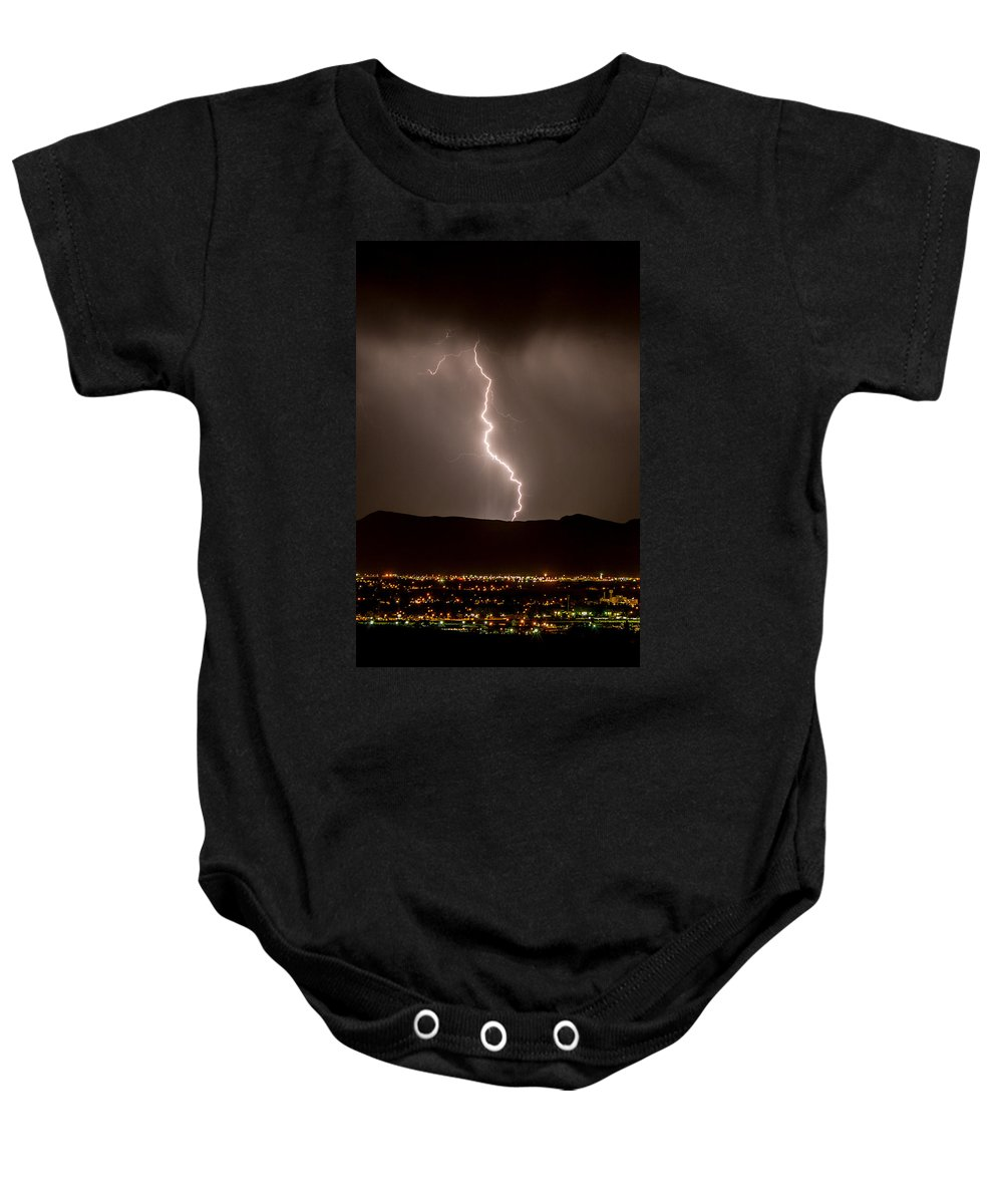 Bolts Baby Onesie featuring the photograph Lightning 3 by Jeff Stoddart