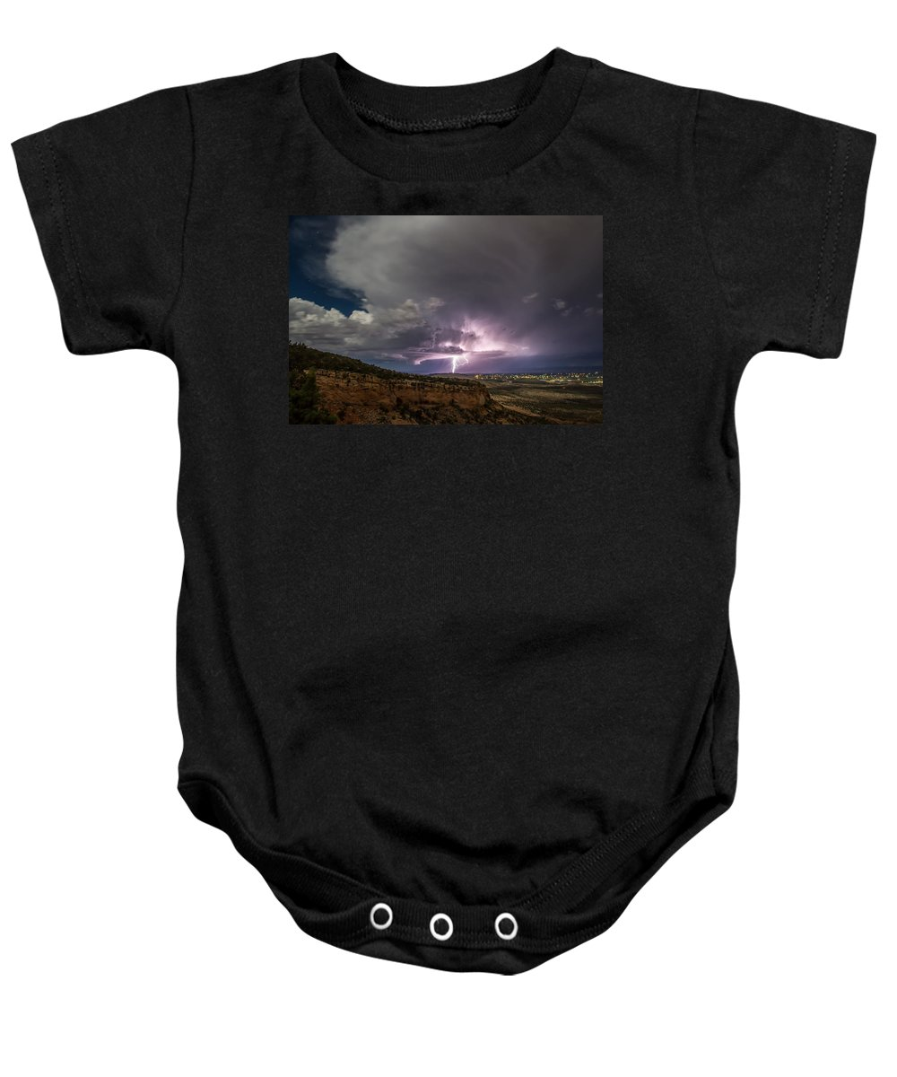 Lightning Baby Onesie featuring the photograph Lightning 33 by Jeff Stoddart