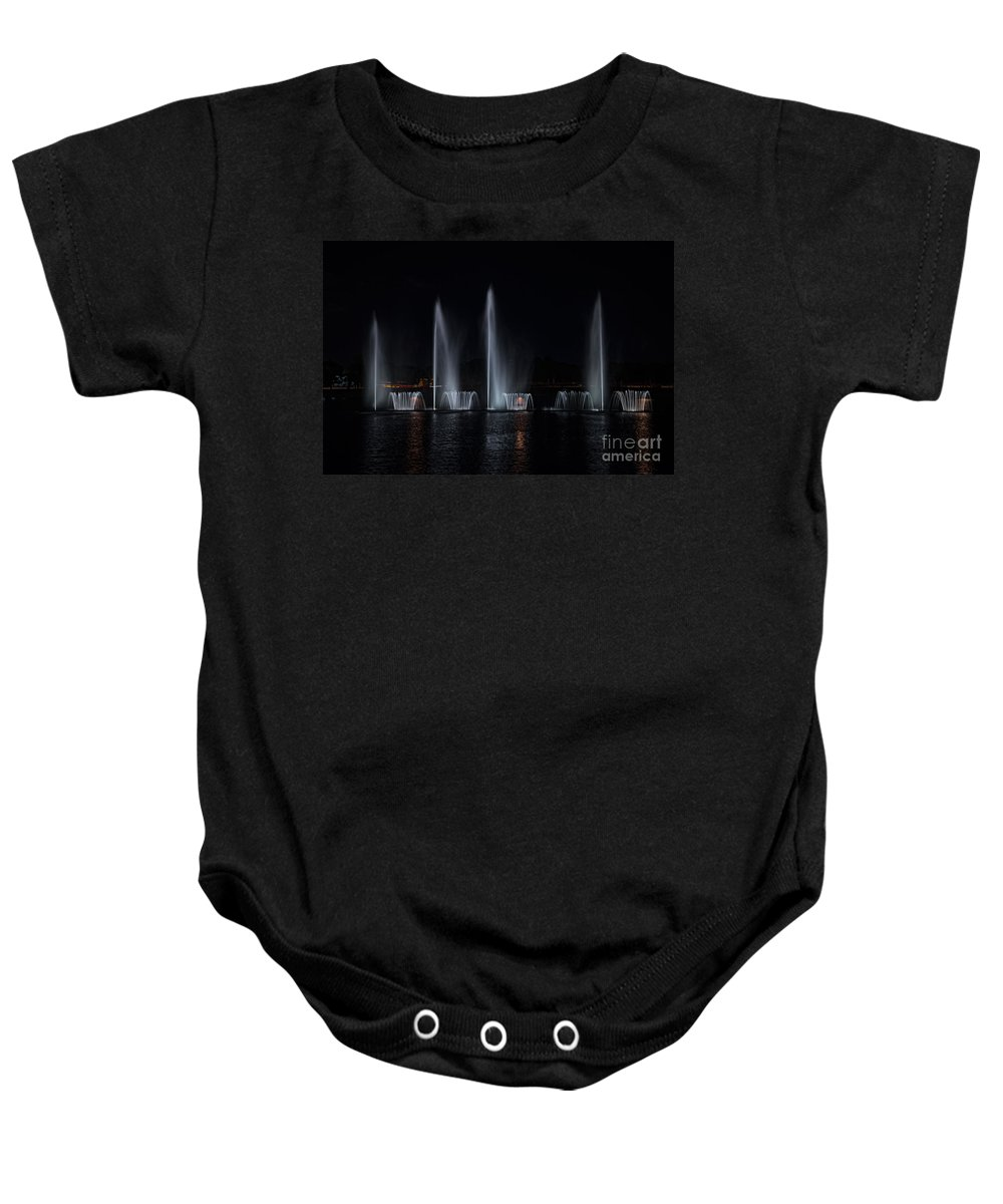 Colored Lights Baby Onesie featuring the digital art Lights At Night by Carol Ailles