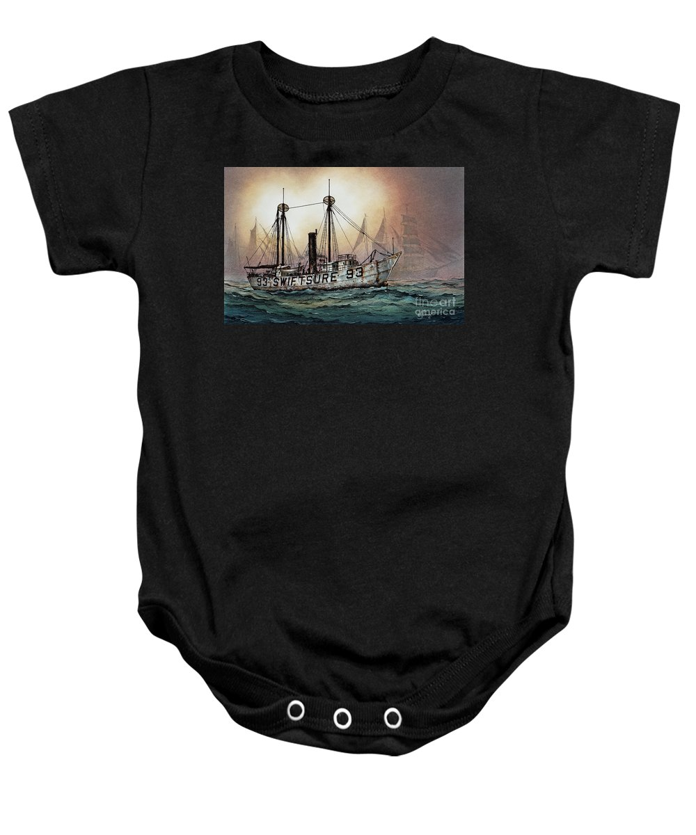 Lighthouse Fine Art Print Baby Onesie featuring the painting Lightship Swiftsure by James Williamson