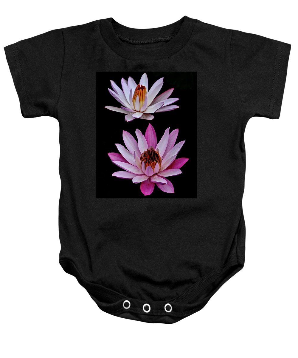 Water Baby Onesie featuring the photograph Lilies In Black by Frozen in Time Fine Art Photography