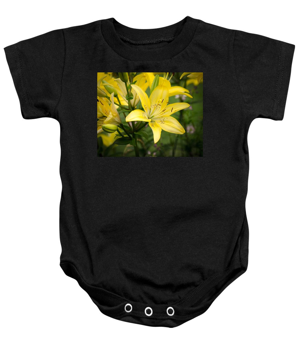 Flower Baby Onesie featuring the pyrography Lilies In The Sun by Shirley Tinkham