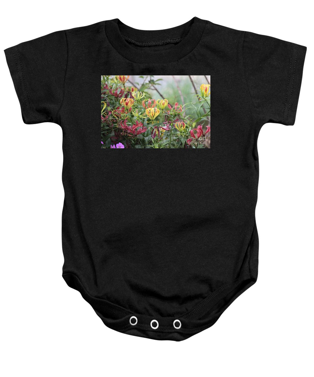 Lilies Baby Onesie featuring the photograph Lilies Of Color by Dwight Cook