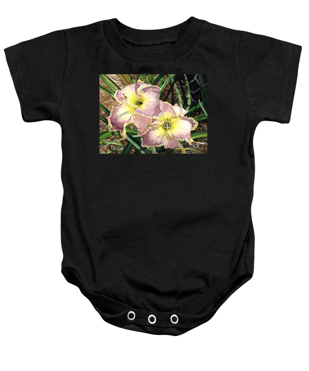 Flowers Baby Onesie featuring the painting Lillies Clothed In Glory by Barbara Jewell