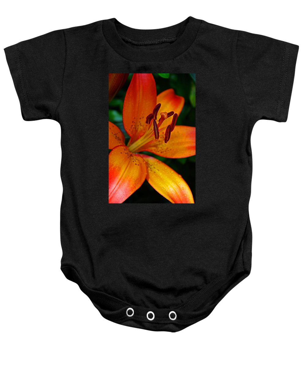 Lily Baby Onesie featuring the photograph Lily Closeup by Rich Walter