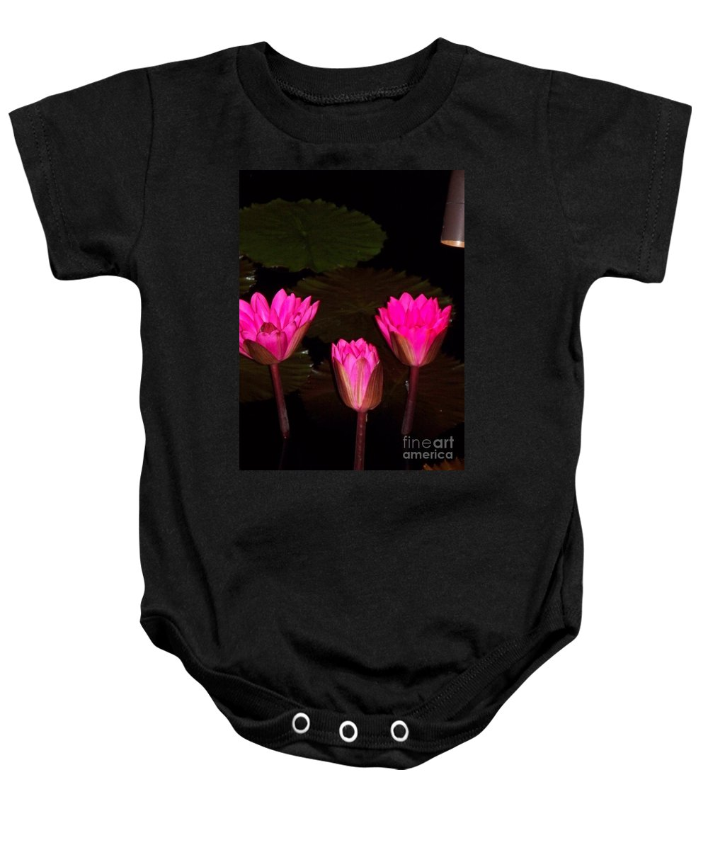 Water Lilies Baby Onesie featuring the photograph Lily Night Time by Eric Schiabor