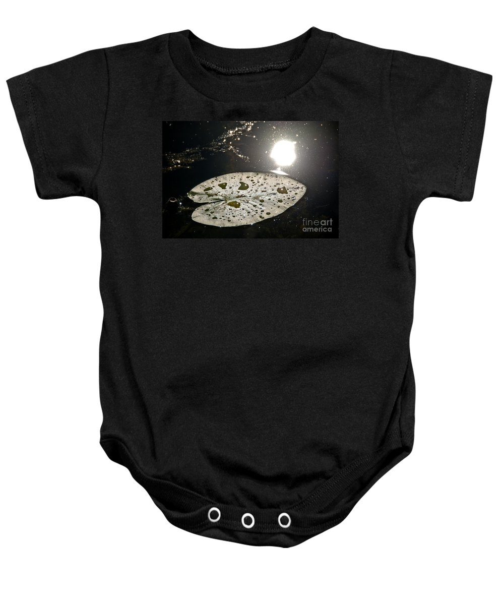 Lily Pads Baby Onesie featuring the photograph Lily Pad In The Sun by Cheryl Baxter