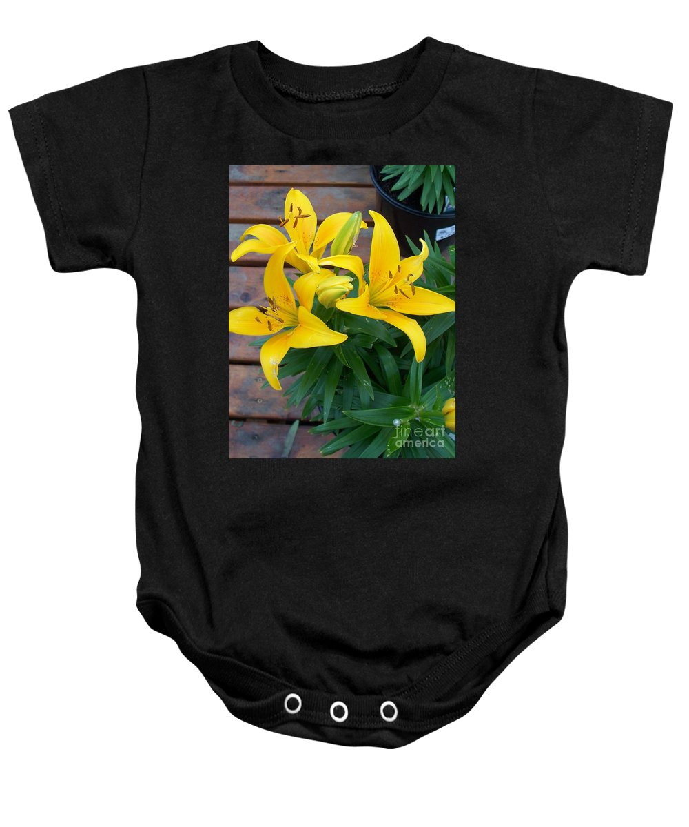 Photograph Baby Onesie featuring the photograph Lily Yellow Flower by Eric Schiabor