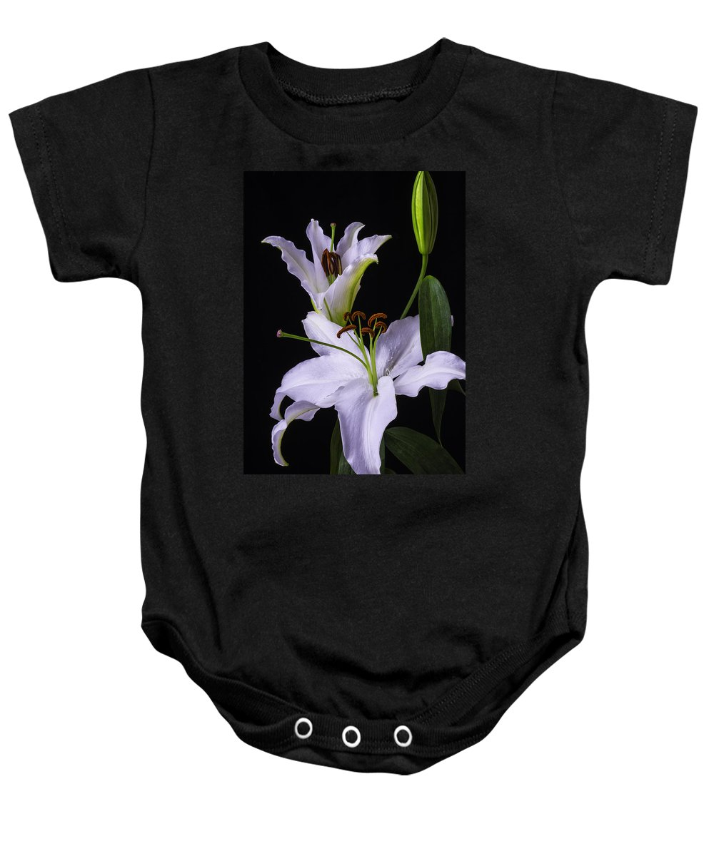 White Tiger Lily Baby Onesie featuring the photograph Lily's In Bloom by Garry Gay