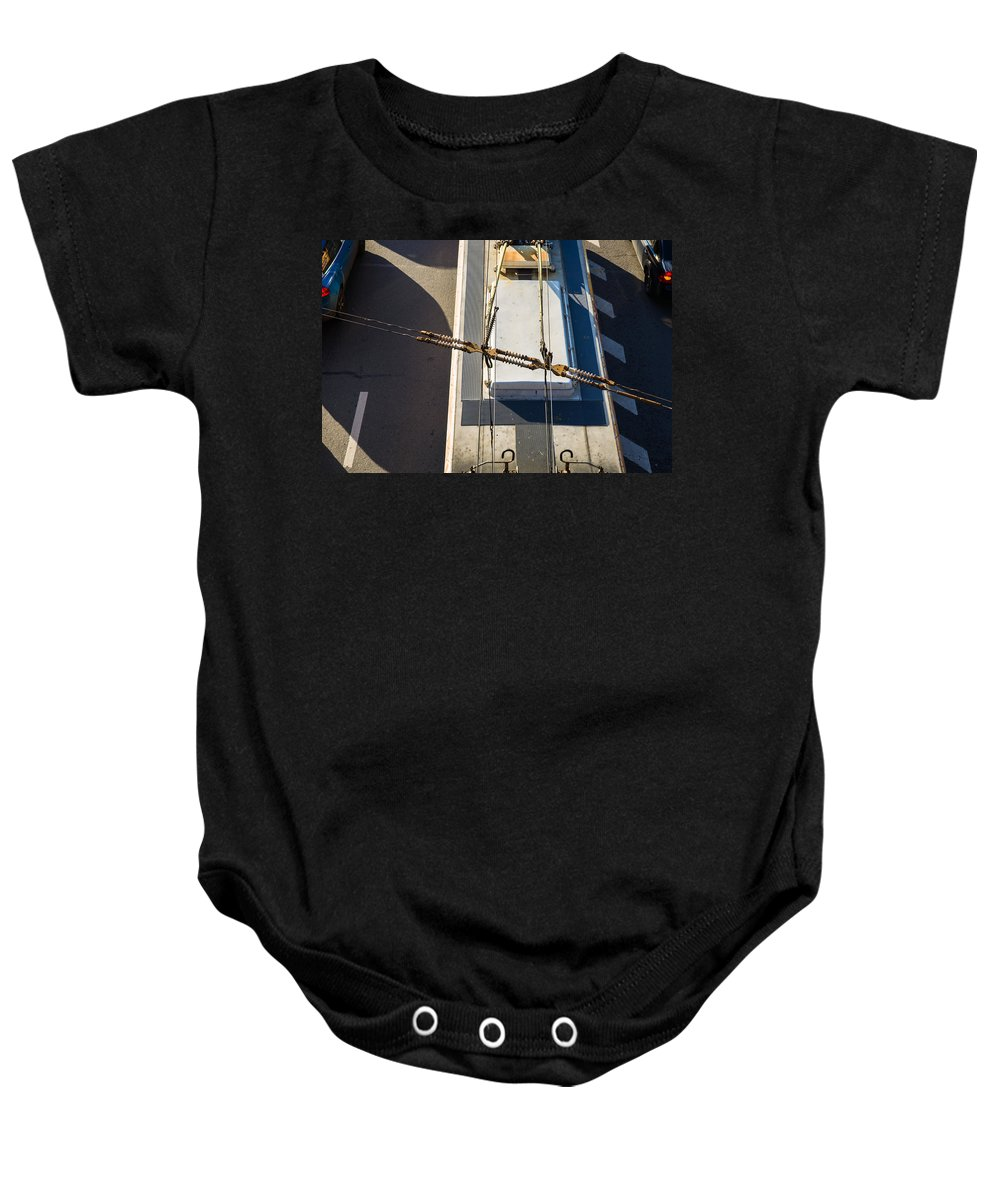 Bus Baby Onesie featuring the photograph Lines Of Civilization by Alexander Senin