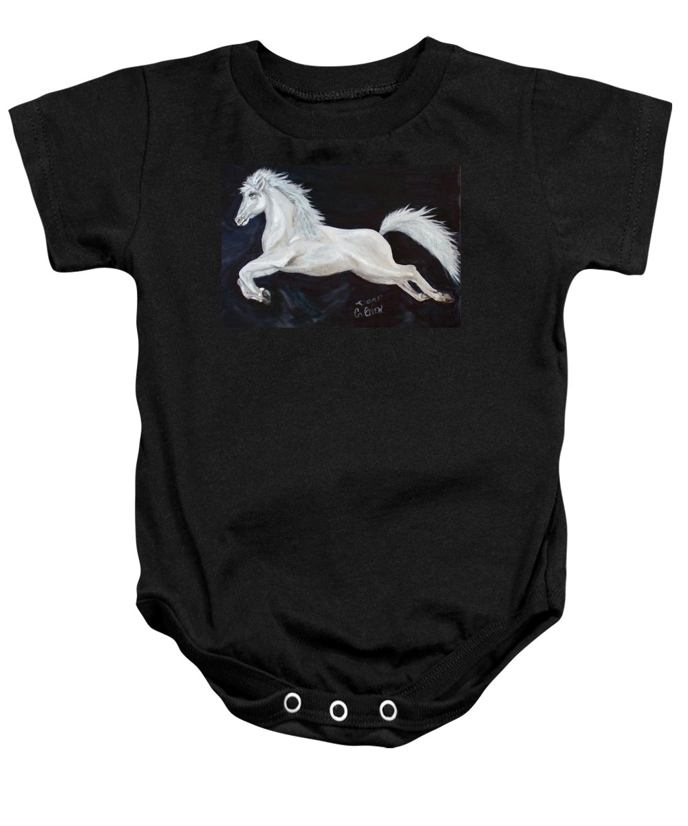Horse Baby Onesie featuring the painting Lipizzaner Capriole by Caroline Owen-Doar