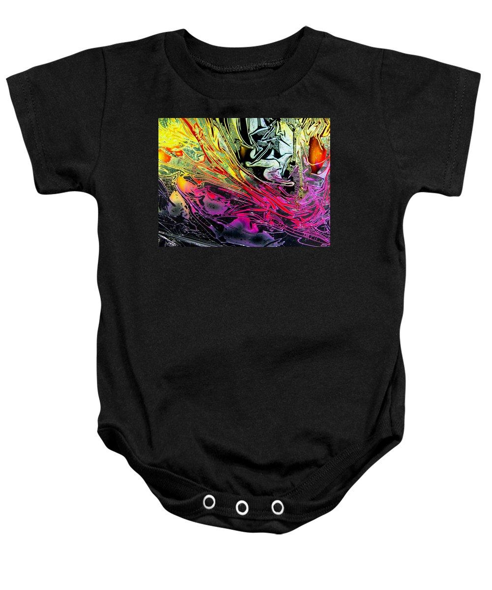 Surrealism Baby Onesie featuring the digital art Liquid Decalcomaniac Desires 1 by Otto Rapp