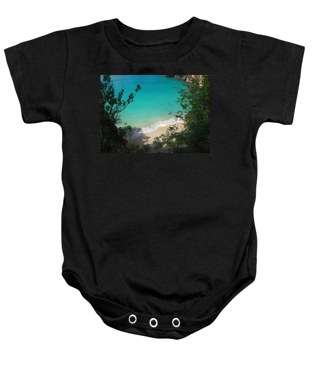 Anguilla Baby Onesie featuring the photograph Little Bay Latitude by Kristin Bourne