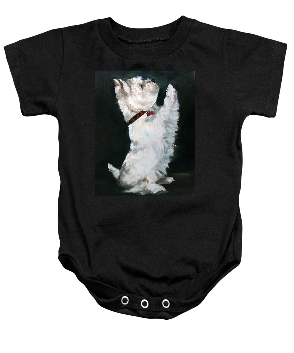 Westie Baby Onesie featuring the painting Little Beggar by Mary Sparrow