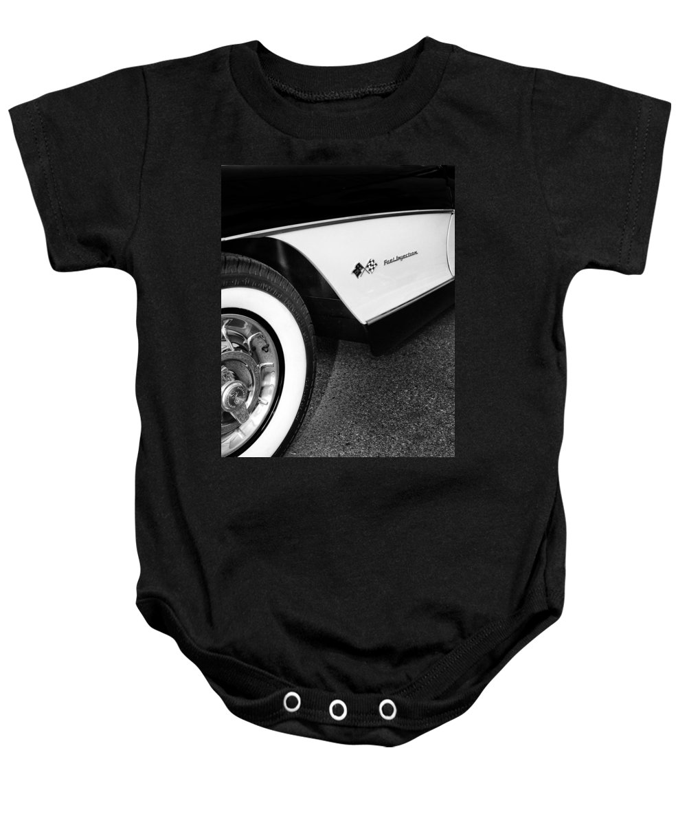 Car Auction Baby Onesie featuring the photograph Little Black Corvette Palm Springs by William Dey