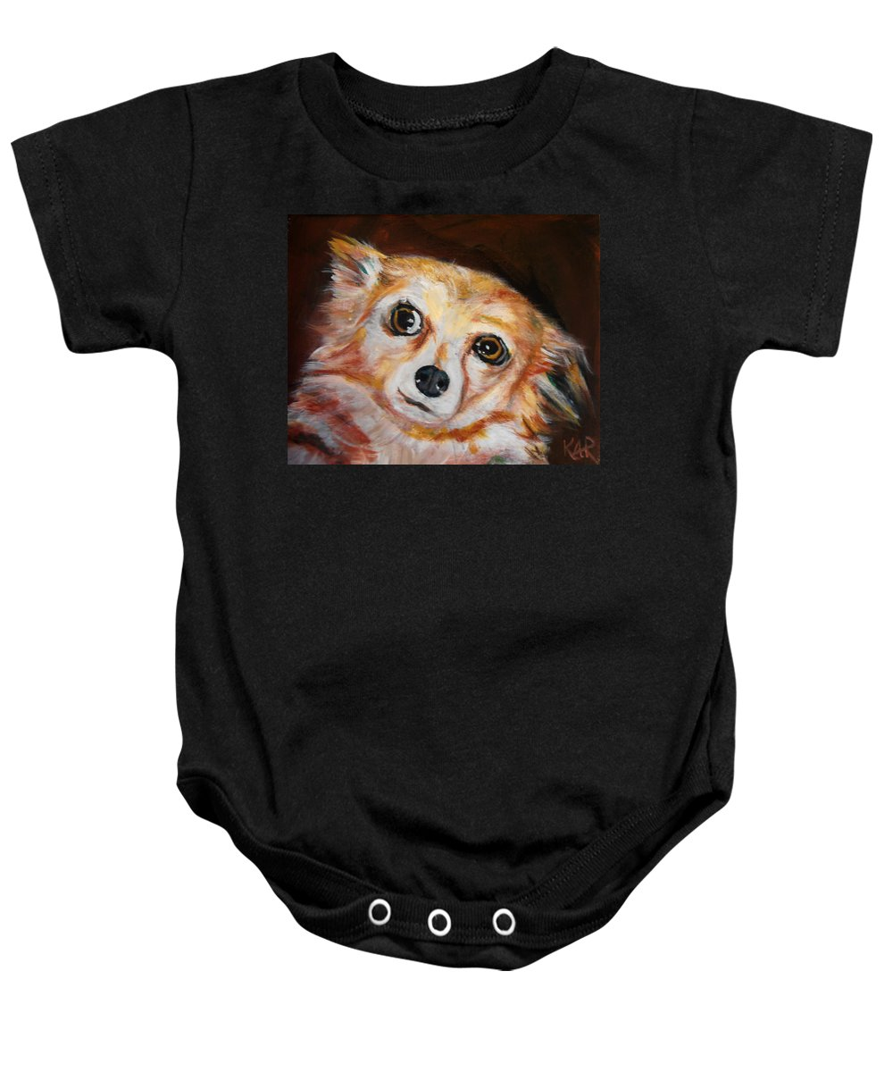 Dog Baby Onesie featuring the painting Little Doggie by Art by Kar