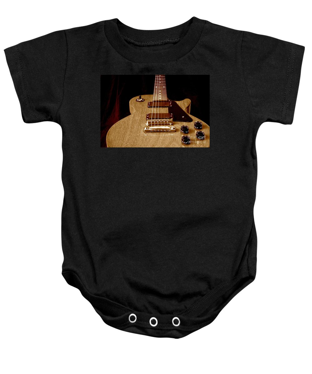 Les Paul Baby Onesie featuring the photograph Little Les Can Be More by Robert Frederick