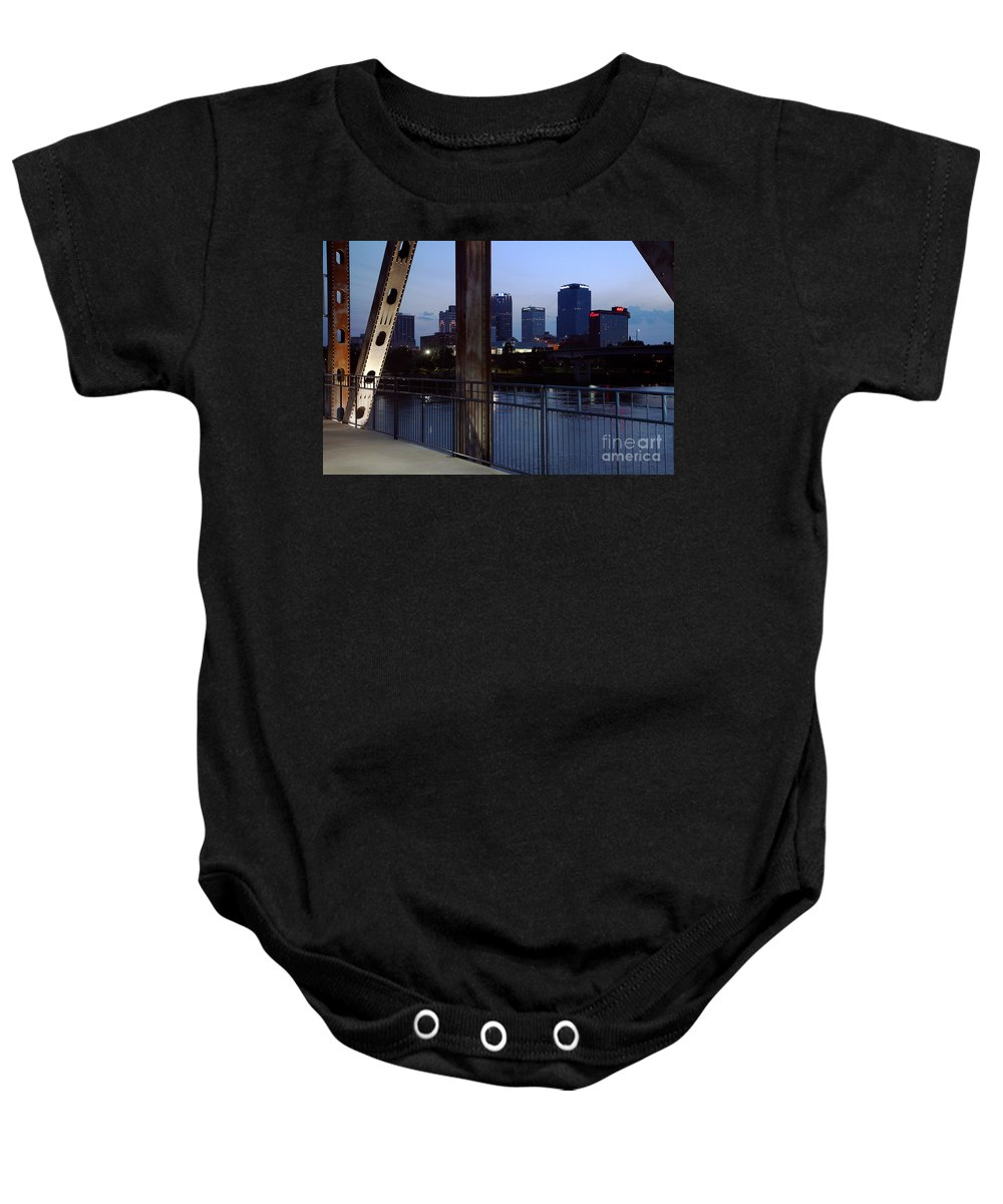 Bank Of Americal Plaza Baby Onesie featuring the photograph Little Rock Skyline From Junction Bridge by Bill Cobb