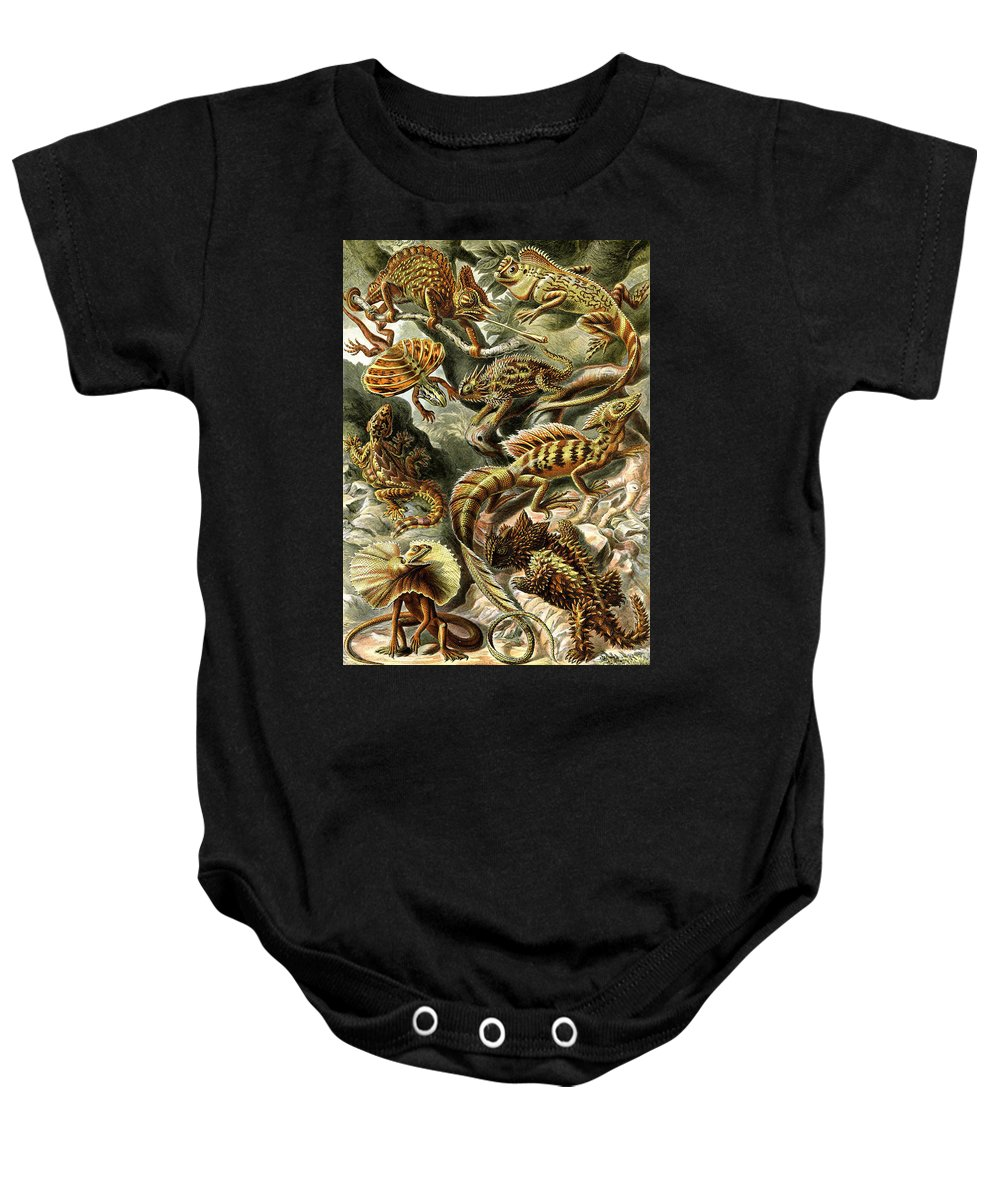 Lacertilia Baby Onesie featuring the digital art Lizards Lizards And More Lizards by Unknown