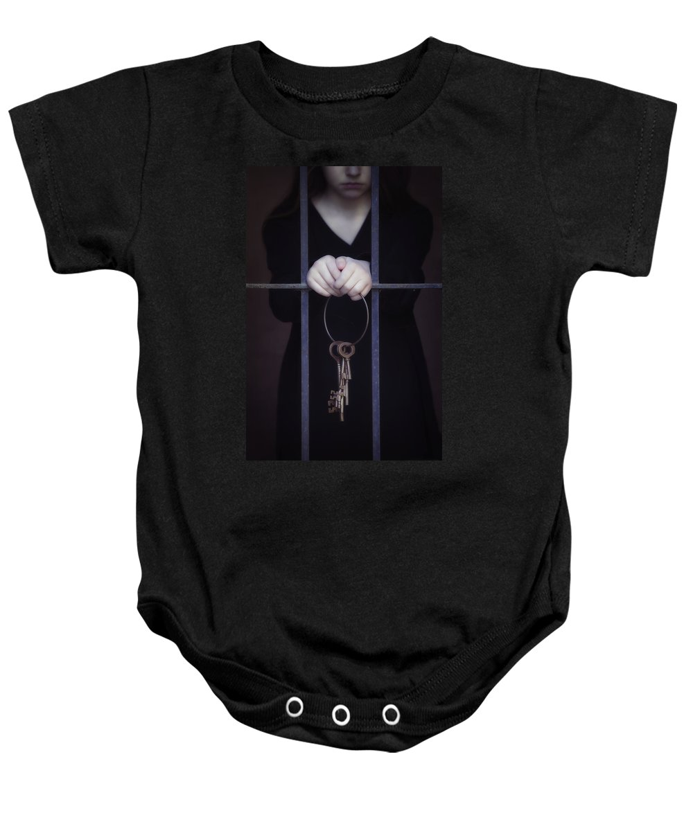 Girl Baby Onesie featuring the photograph Locked-in by Joana Kruse