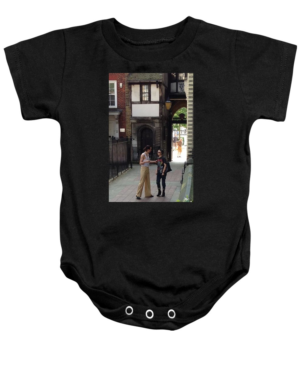 London England Baby Onesie featuring the photograph London Couple by Lois Ivancin Tavaf