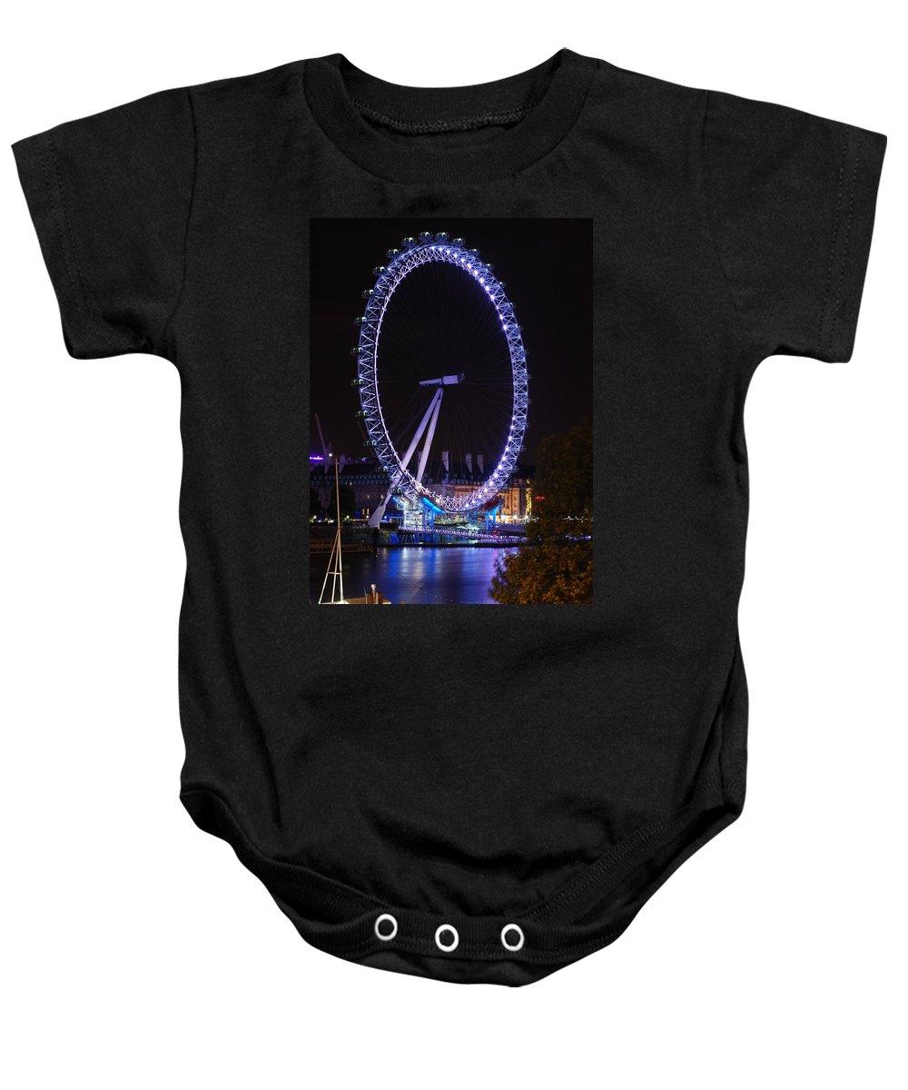 London Eye Baby Onesie featuring the photograph London Eye By Night by Wojciech Olszewski