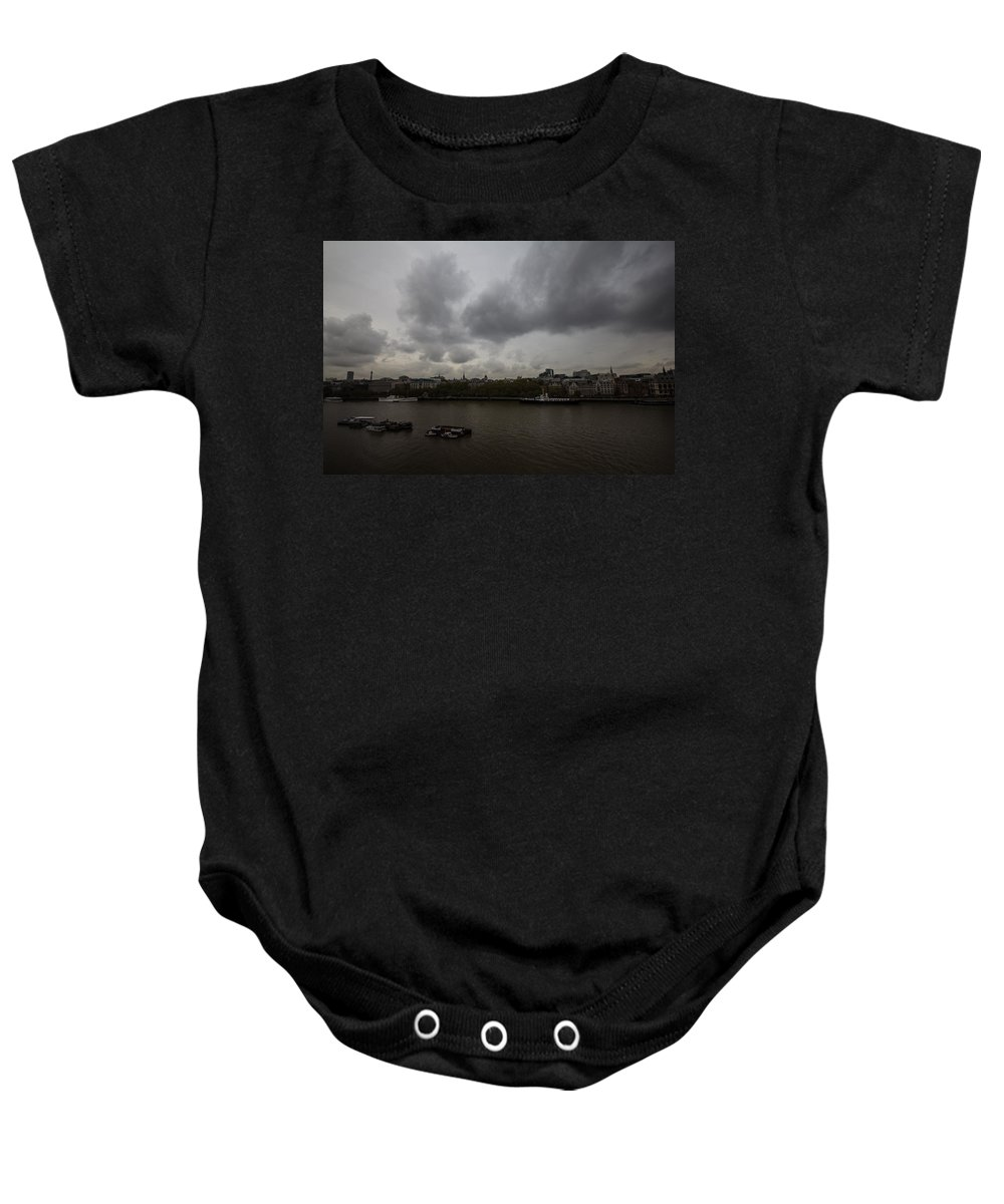 London Baby Onesie featuring the photograph London River View by Dawn OConnor