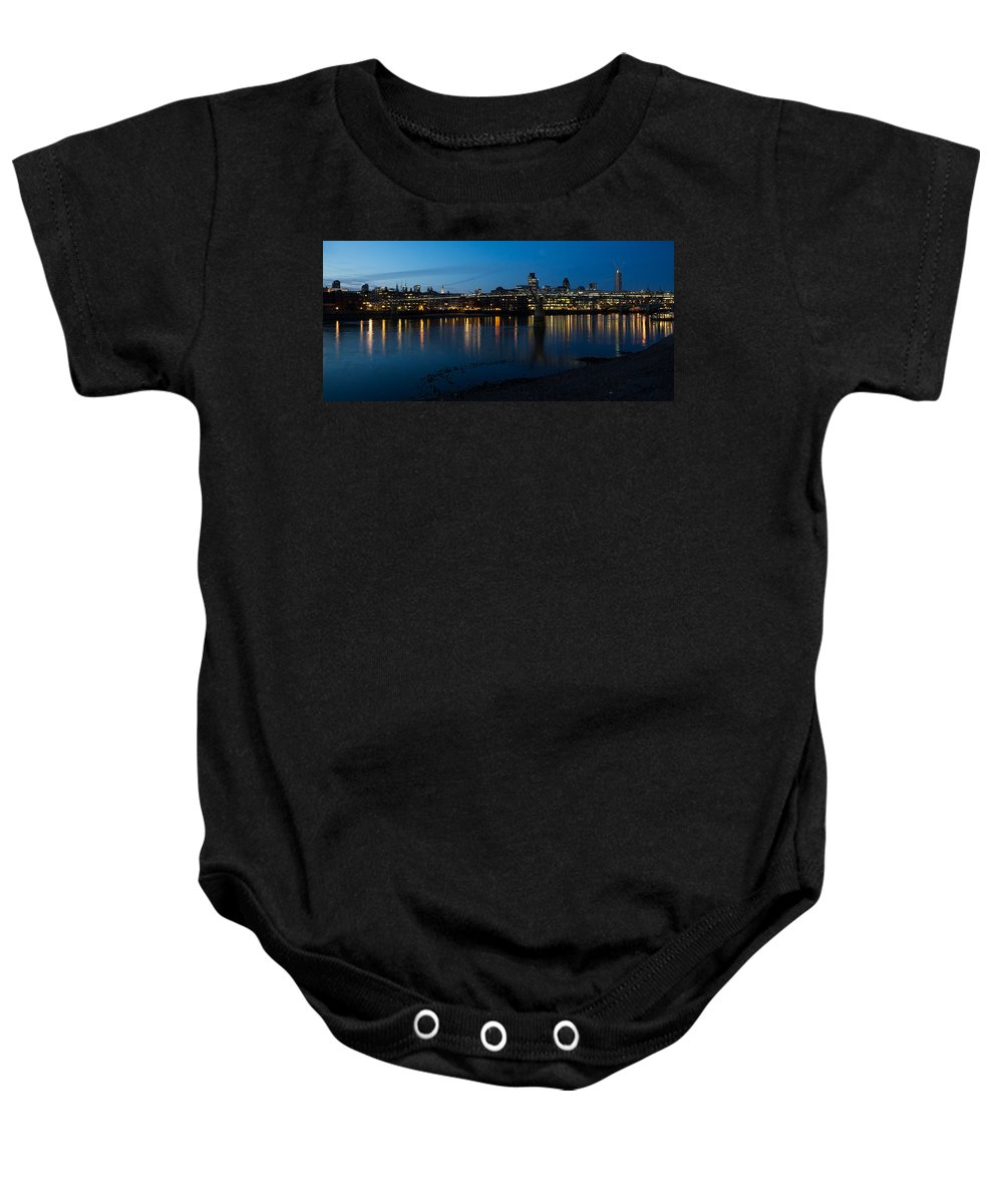 Skyline Baby Onesie featuring the photograph London Skyline Reflecting In The Thames River At Night by Georgia Mizuleva