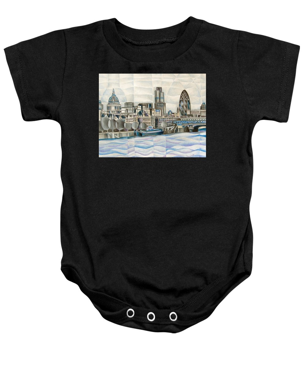 London Baby Onesie featuring the painting London Skyline by Tiffany Budd