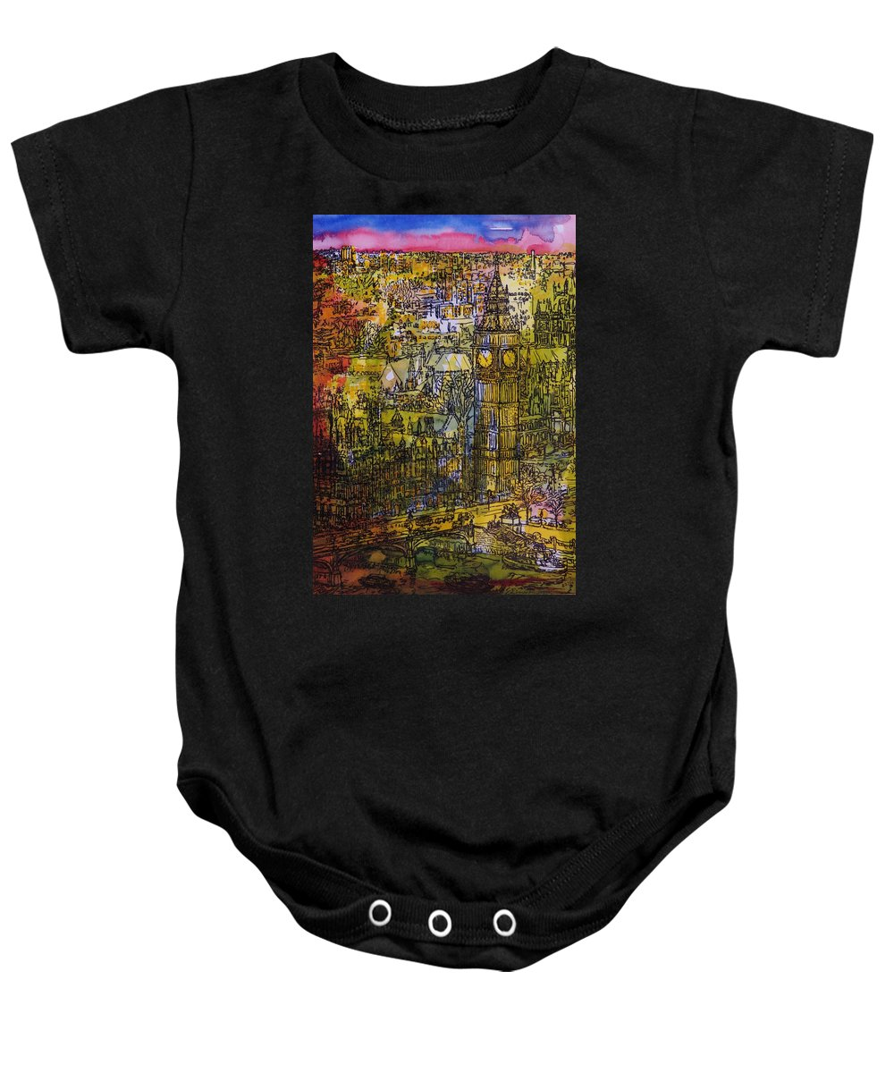 Houses Of Parliament Baby Onesie featuring the photograph London, Westminster Pen & Ink With Wc On Paper by Brenda Brin Booker