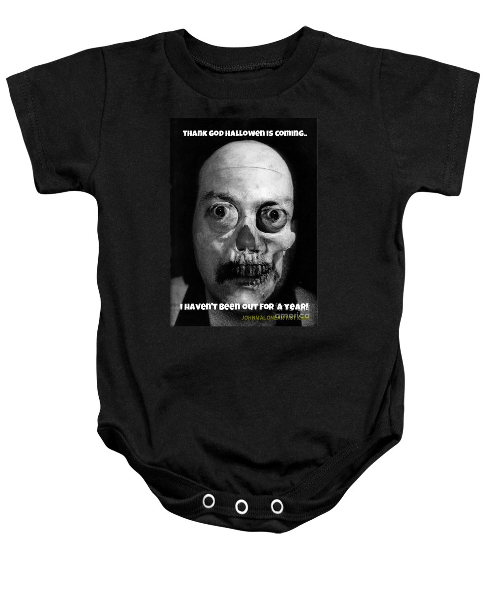 Halloween Baby Onesie featuring the photograph Lonely Zombie by John Malone