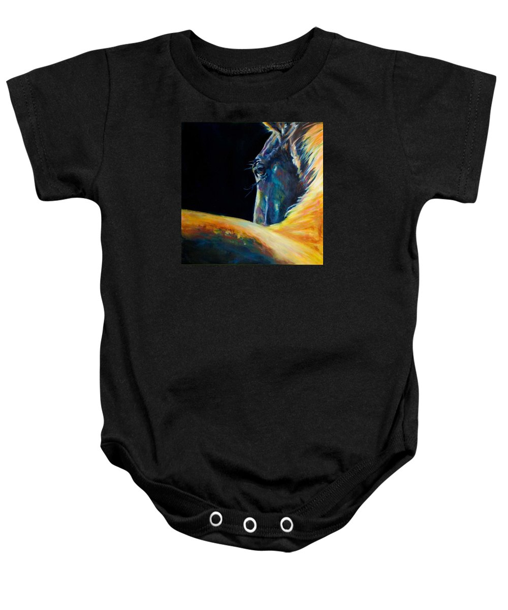 Horses Baby Onesie featuring the painting Look by Jennifer Hickman