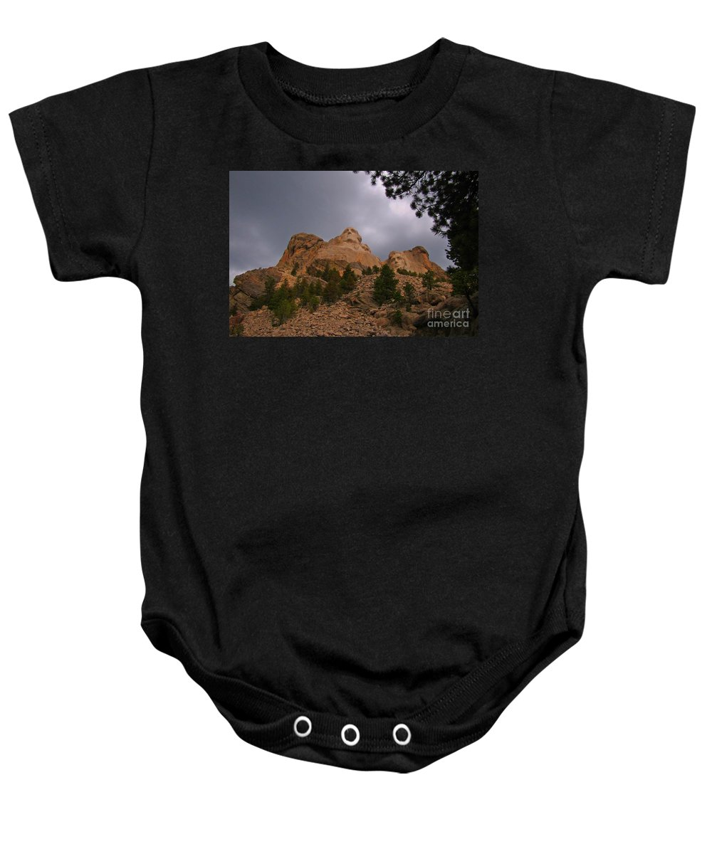 Mount Rushmore Baby Onesie featuring the photograph Looking Up To The Heros by John Malone