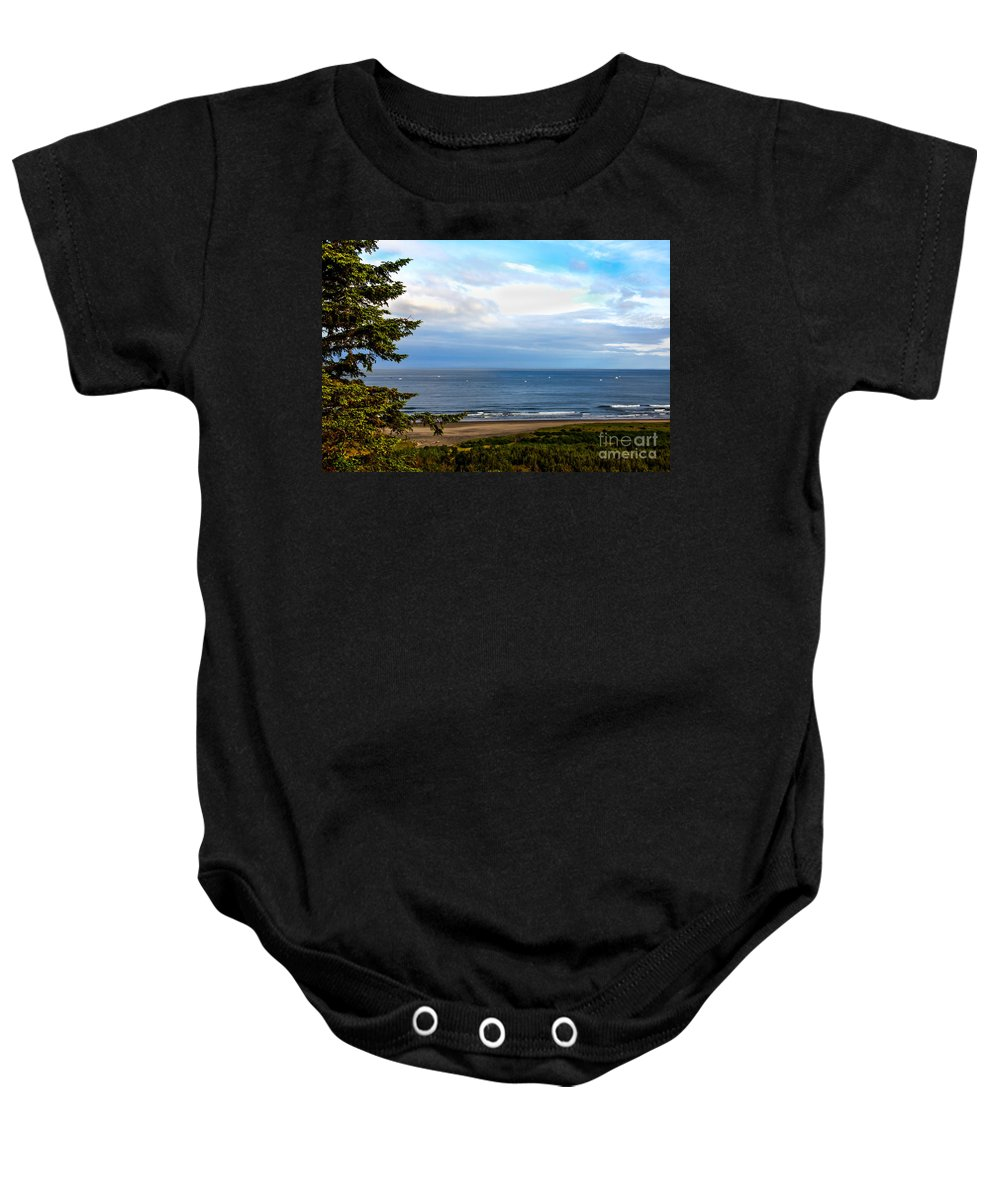 Boats Baby Onesie featuring the photograph Looking West At The Fishing Boats by Robert Bales
