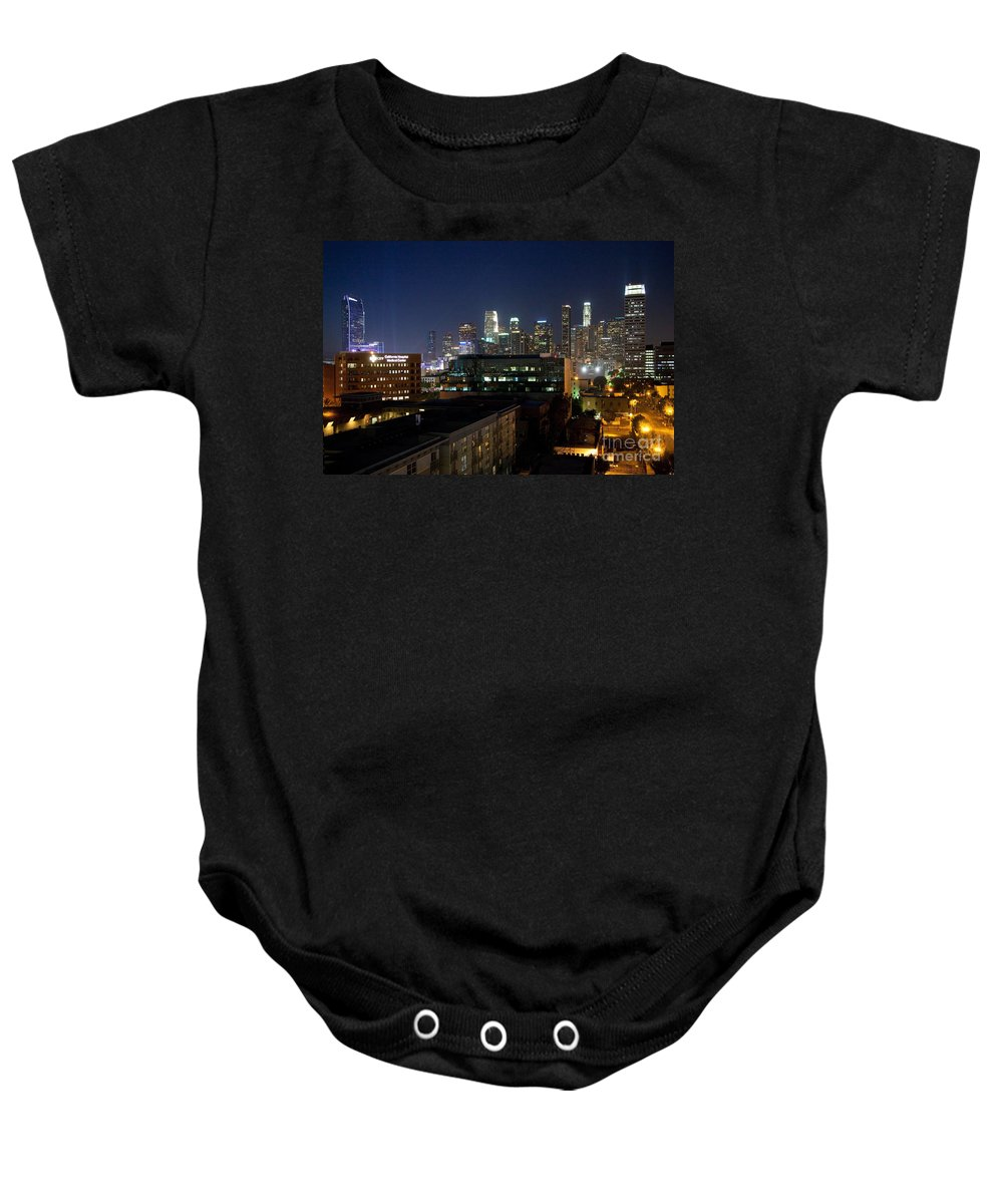 Los Angeles Baby Onesie featuring the photograph Los Angeles Skyline At Dusk by Bill Cobb