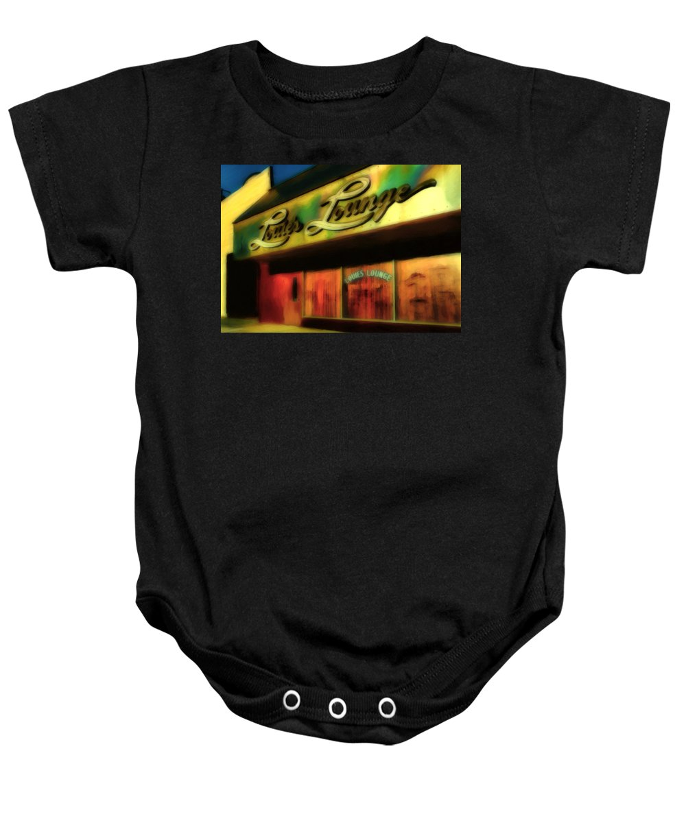 Bars Baby Onesie featuring the painting Louie's Lounge by Michael Pickett
