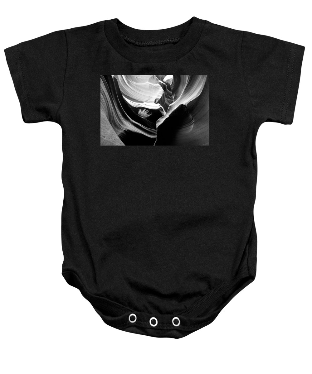 Lower Antelope Canyon Photograph In Black And White Baby Onesie featuring the photograph Lower Antelope Canyon Shrub by Mae Wertz