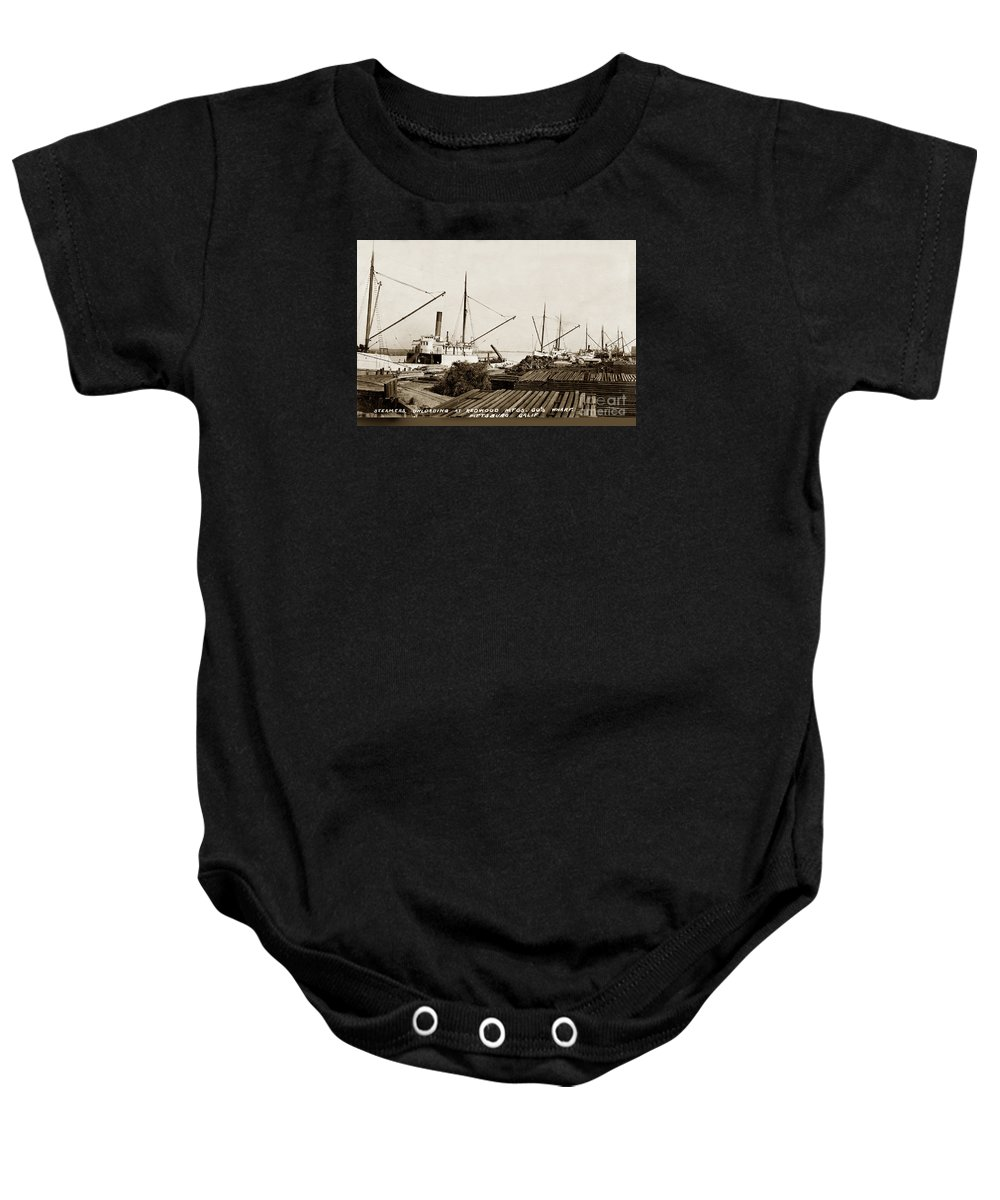 Lumber Steamers Unloading At Redwood Mfg. Co.s Wharf Pittsburg C Baby Onesie featuring the photograph Lumber Steamers Unloading At Redwood Mfg. Co.s Wharf Pittsburg Circa 1920 by California Views Archives Mr Pat Hathaway Archives