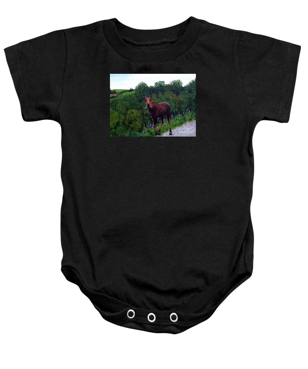 Barbara Griffin Baby Onesie featuring the painting Lupine Loving Moose by Barbara Griffin