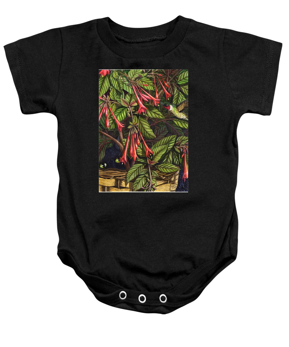 Fuchsia Baby Onesie featuring the painting Lurking by Catherine G McElroy