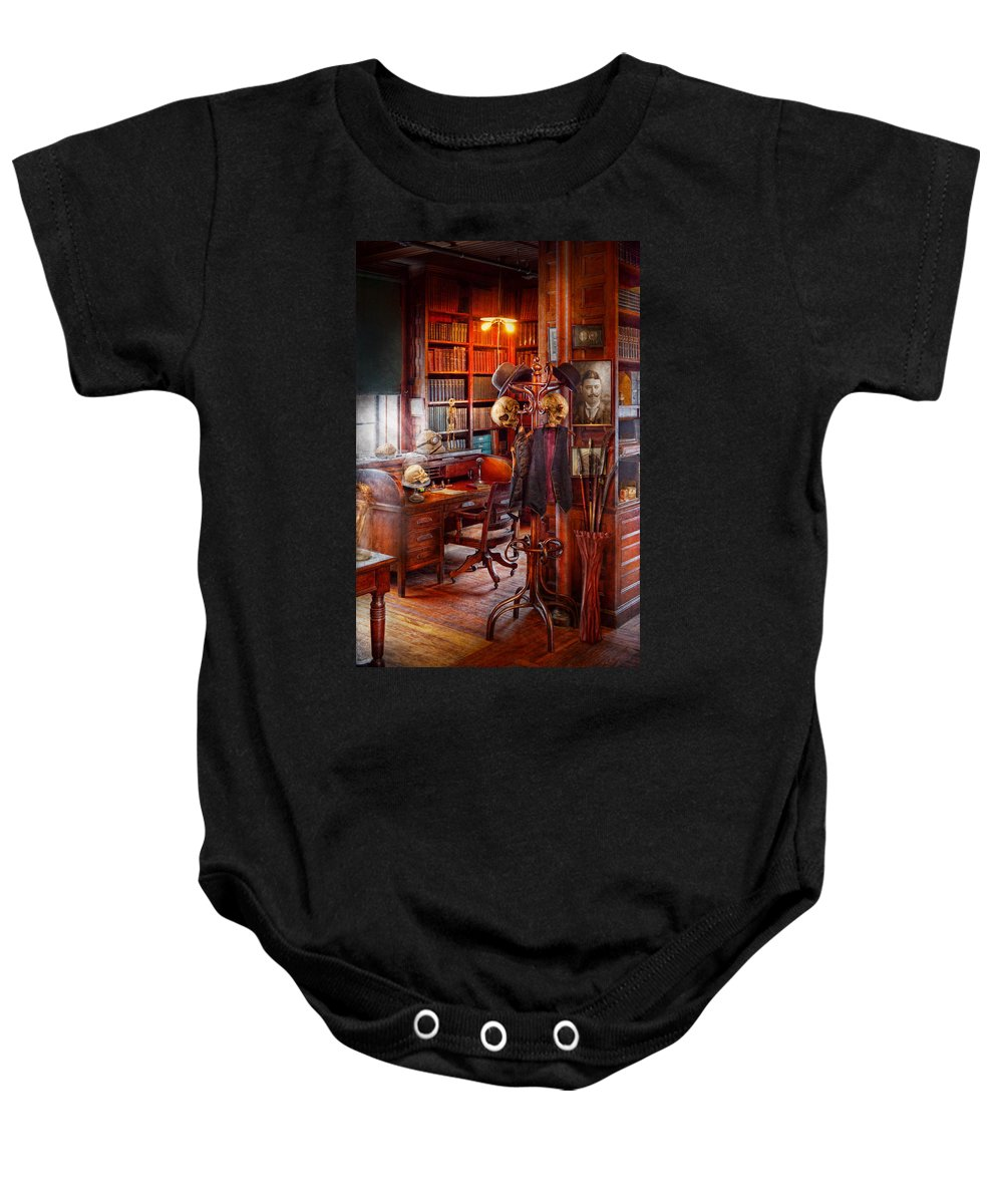 Headhunter Baby Onesie featuring the photograph Macabre - In The Headhunters Study by Mike Savad
