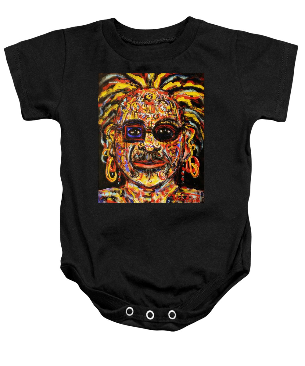 Face Baby Onesie featuring the painting Macho by Natalie Holland