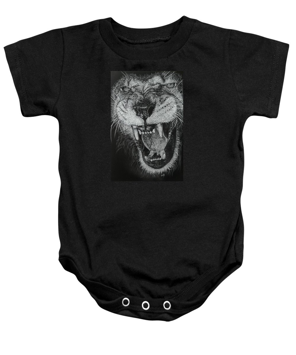 Lion Baby Onesie featuring the drawing Madness by Barbara Keith