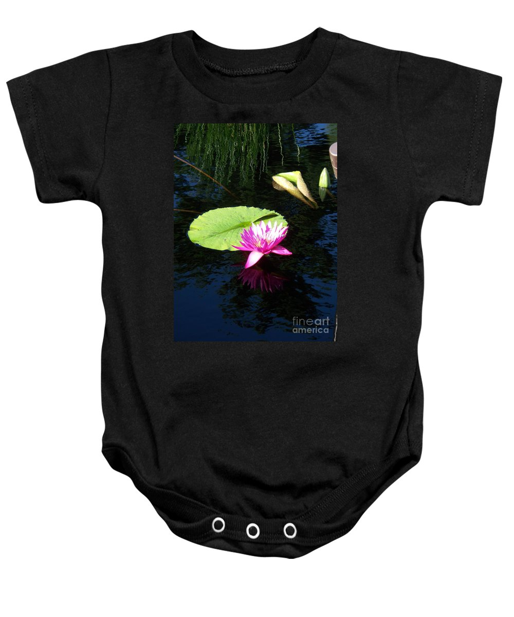 Water Lilies Baby Onesie featuring the photograph Magenta Lily Monet by Eric Schiabor